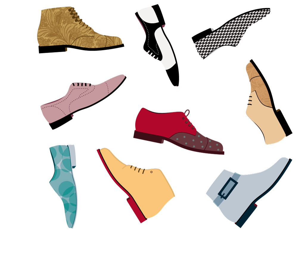Werbe-Illustrationen für Reno Schuhe