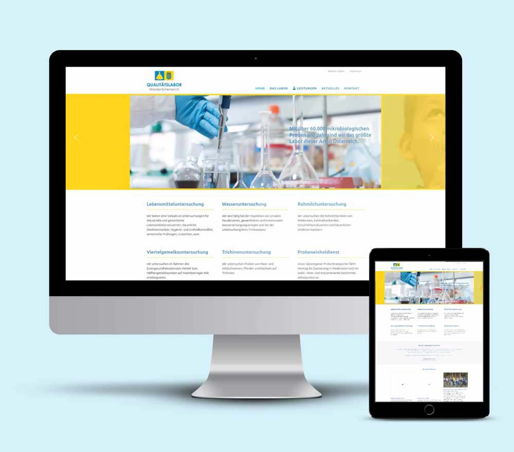 Corporate Design, Webdesign und Entwicklung der Webseite mit WordPress für Qualitätslabor NÖ