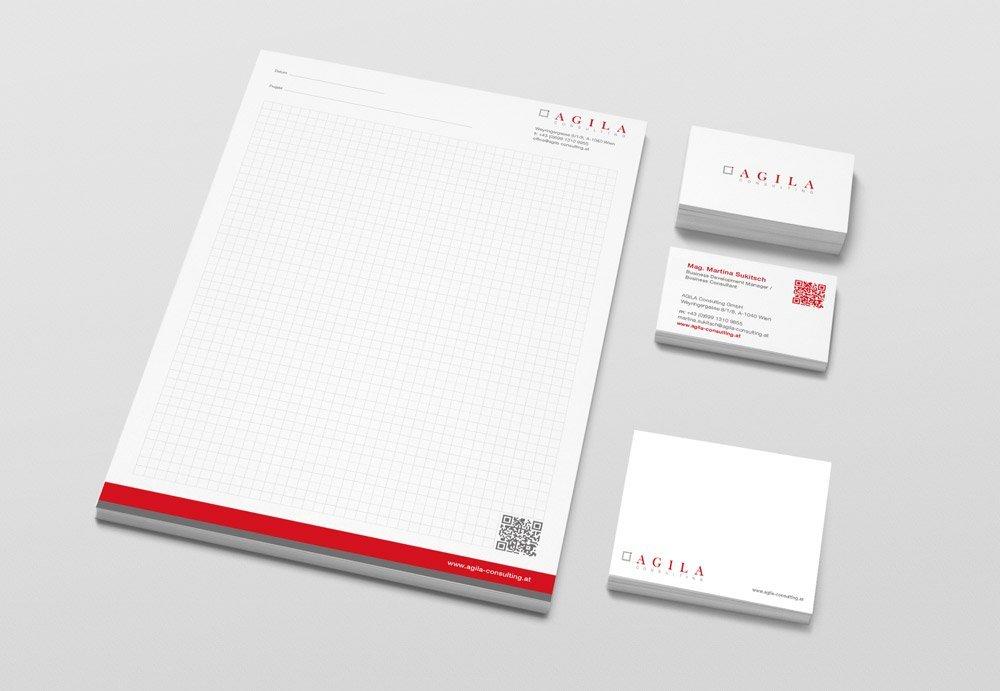 Corporate Design, Gestaltung der Geschäftsdrucksorten und Website für Agila