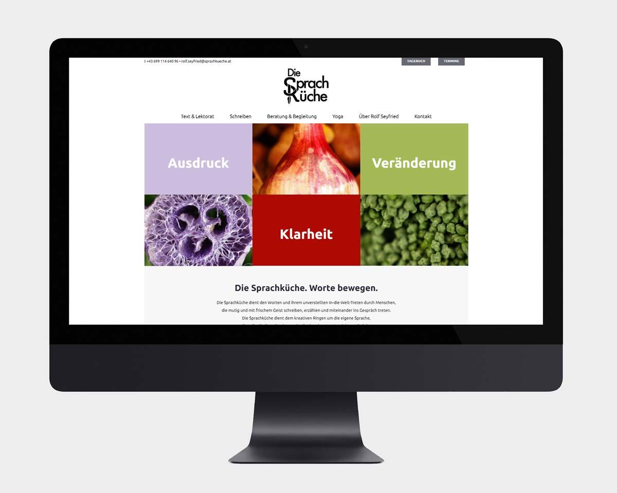 Logo Design, Webdesign und Webentwicklung mit WordPress für die Sprachküche in Wien