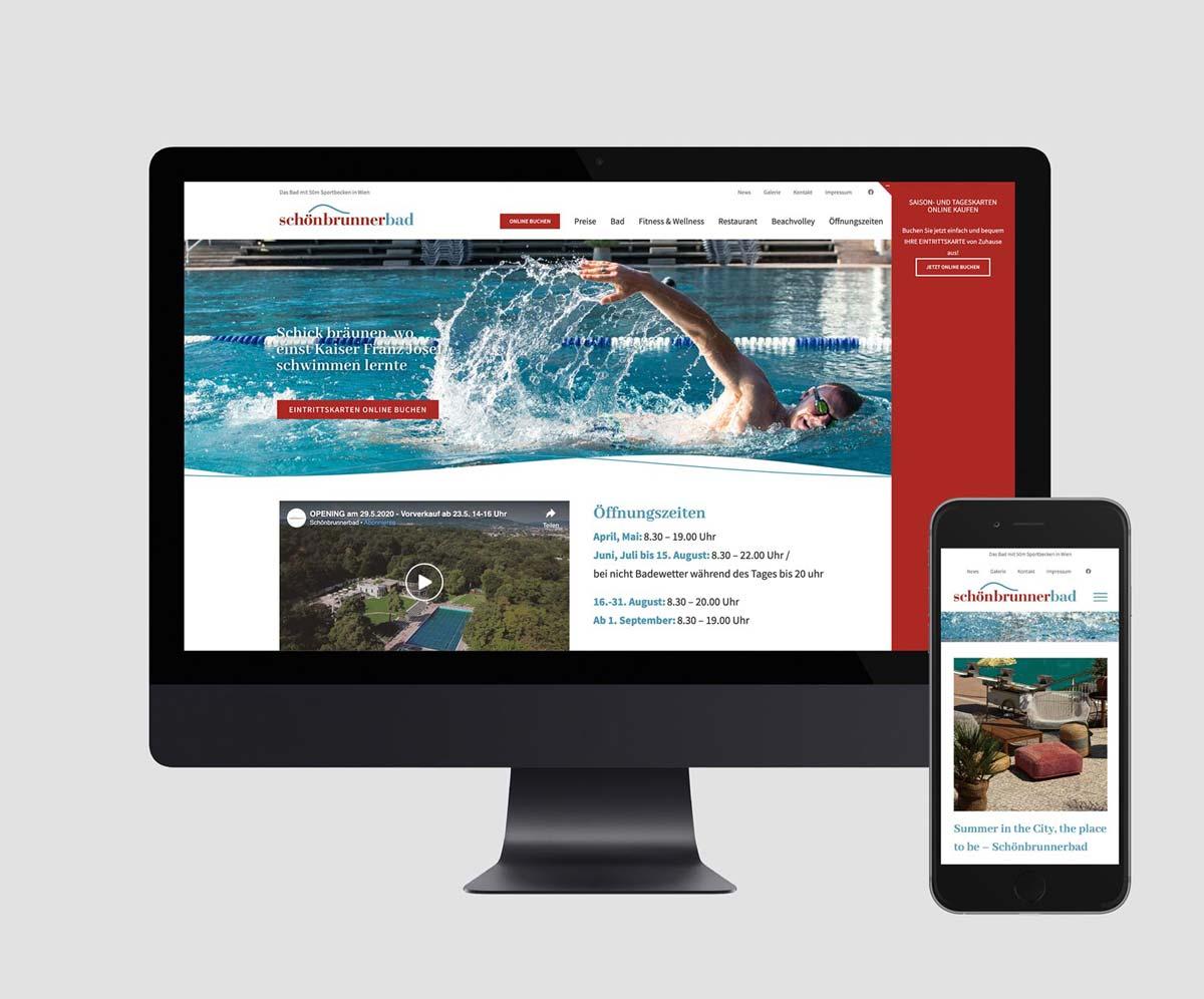 Webdesign und Webentwicklung basiert auf CMS WordPress für Schönbrunnerbad in Wien