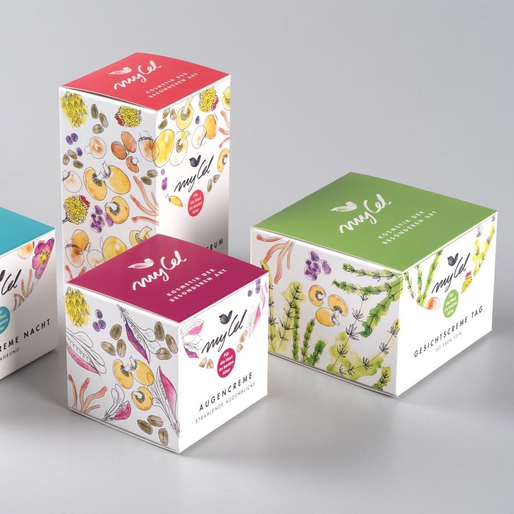 Corporate Identity & Brand Strategie für myCel - Logo, Verpackungsdesign, Webseite für mycel Kosmetik Wien