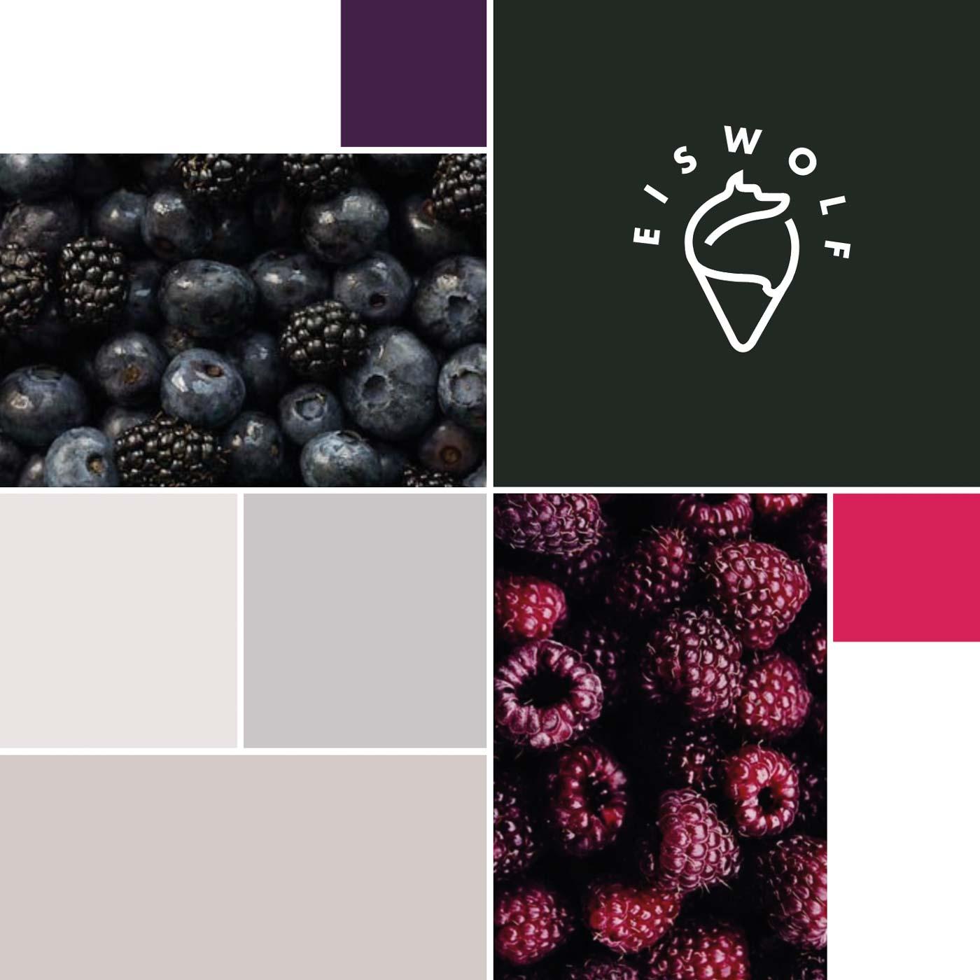 Logo Farbwelt-Konzept für Patisserie Eiswolf in Wien